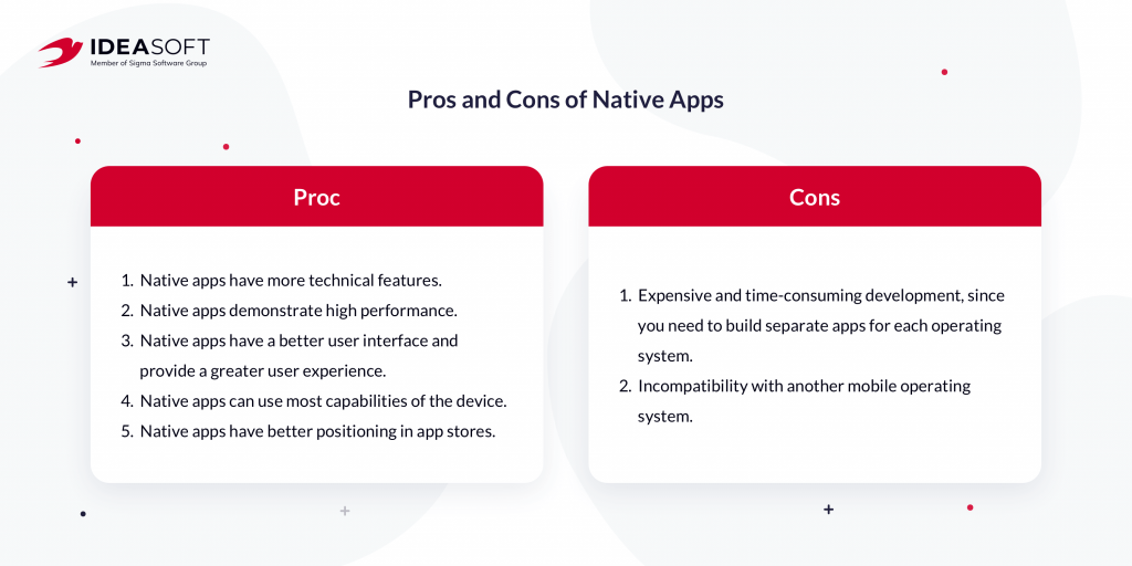 Pros and cons of native apps